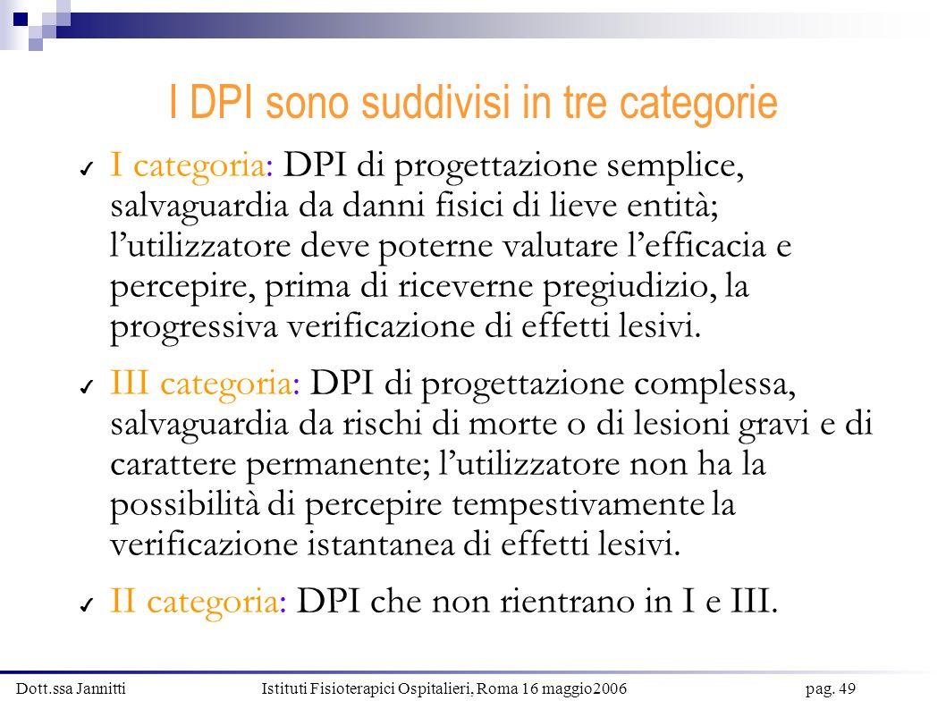 Dott.ssa Jannitti Istituti Fisioterapici Ospitalieri, Roma 16 maggio2006 pag. 49 I DPI sono suddivisi in tre categorie I categoria: DPI di progettazio