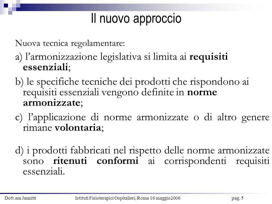 Dott.ssa Jannitti Istituti Fisioterapici Ospitalieri, Roma 16 maggio2006 pag. 5 Il nuovo approccio Nuova tecnica regolamentare: a) larmonizzazione leg