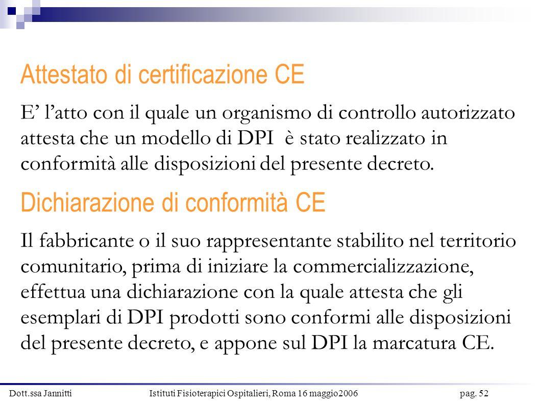 Dott.ssa Jannitti Istituti Fisioterapici Ospitalieri, Roma 16 maggio2006 pag. 52 Attestato di certificazione CE E latto con il quale un organismo di c
