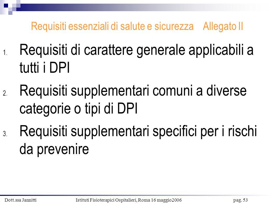 Dott.ssa Jannitti Istituti Fisioterapici Ospitalieri, Roma 16 maggio2006 pag. 53 Requisiti essenziali di salute e sicurezza Allegato II 1. Requisiti d