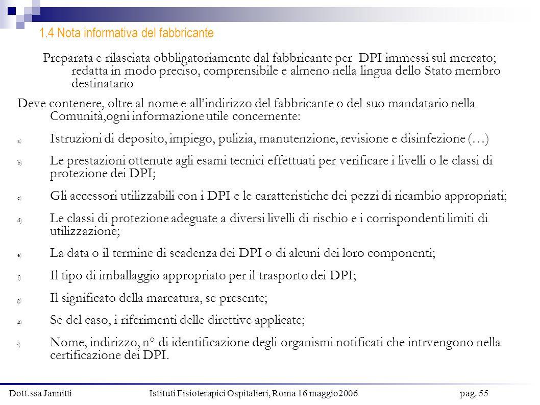 Dott.ssa Jannitti Istituti Fisioterapici Ospitalieri, Roma 16 maggio2006 pag. 55 1.4 Nota informativa del fabbricante Preparata e rilasciata obbligato
