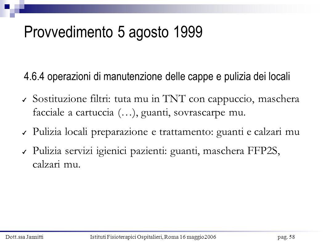 Dott.ssa Jannitti Istituti Fisioterapici Ospitalieri, Roma 16 maggio2006 pag. 58 Provvedimento 5 agosto 1999 4.6.4 operazioni di manutenzione delle ca