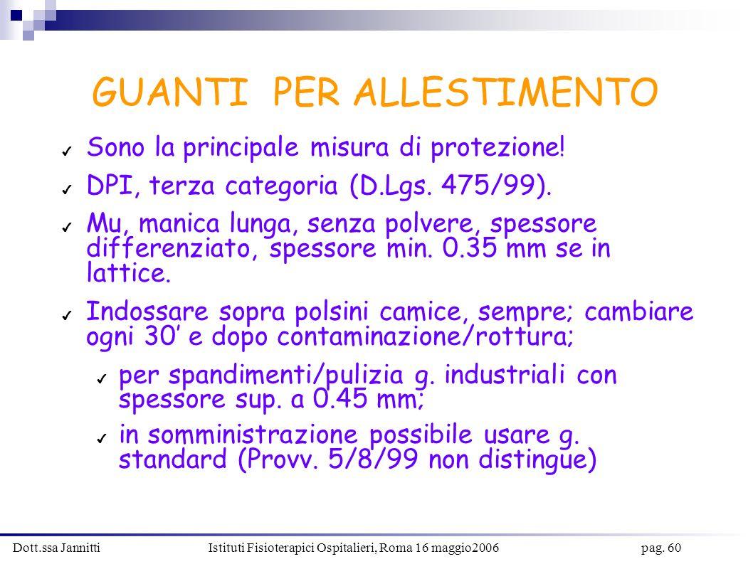 Dott.ssa Jannitti Istituti Fisioterapici Ospitalieri, Roma 16 maggio2006 pag. 60 GUANTI PER ALLESTIMENTO Sono la principale misura di protezione! DPI,