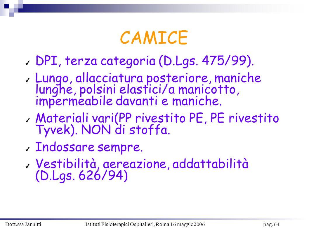Dott.ssa Jannitti Istituti Fisioterapici Ospitalieri, Roma 16 maggio2006 pag. 64 CAMICE DPI, terza categoria (D.Lgs. 475/99). Lungo, allacciatura post