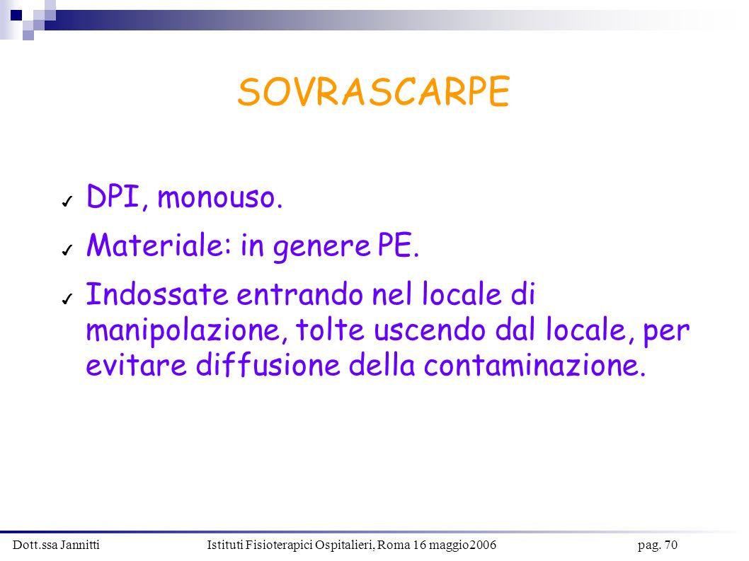 Dott.ssa Jannitti Istituti Fisioterapici Ospitalieri, Roma 16 maggio2006 pag. 70 SOVRASCARPE DPI, monouso. Materiale: in genere PE. Indossate entrando