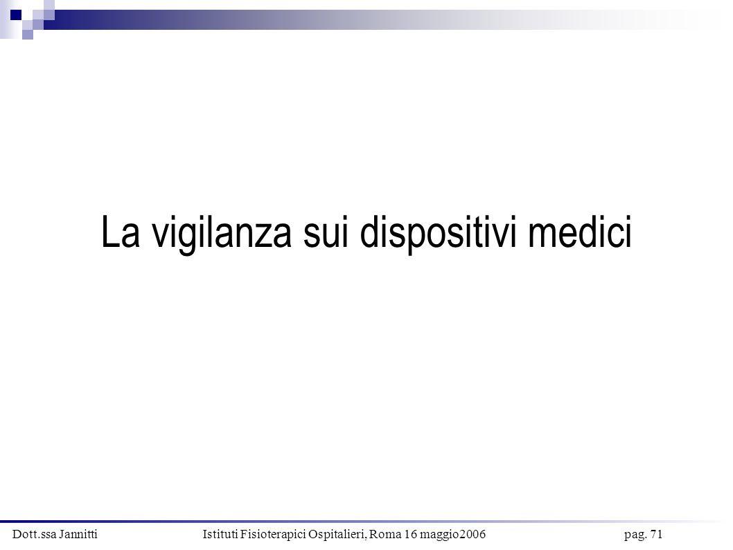 Dott.ssa Jannitti Istituti Fisioterapici Ospitalieri, Roma 16 maggio2006 pag. 71 La vigilanza sui dispositivi medici