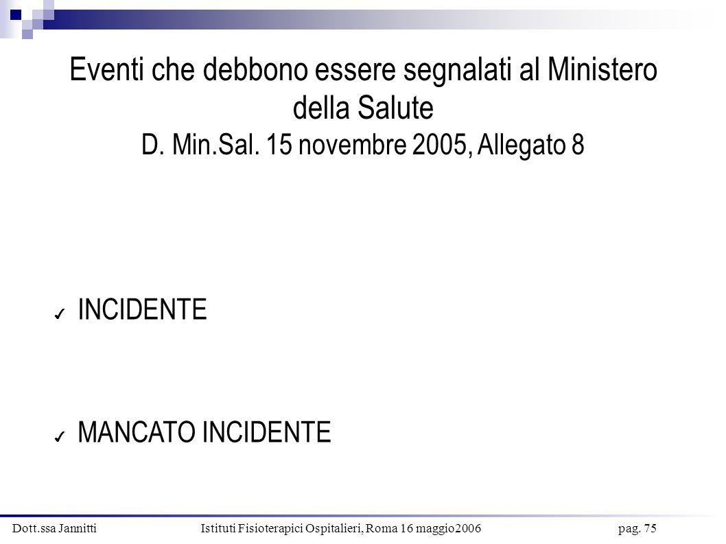 Dott.ssa Jannitti Istituti Fisioterapici Ospitalieri, Roma 16 maggio2006 pag. 75 Eventi che debbono essere segnalati al Ministero della Salute D. Min.
