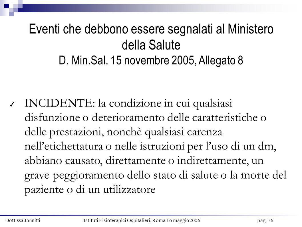 Dott.ssa Jannitti Istituti Fisioterapici Ospitalieri, Roma 16 maggio2006 pag. 76 Eventi che debbono essere segnalati al Ministero della Salute D. Min.