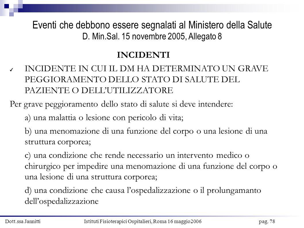 Dott.ssa Jannitti Istituti Fisioterapici Ospitalieri, Roma 16 maggio2006 pag. 78 Eventi che debbono essere segnalati al Ministero della Salute D. Min.