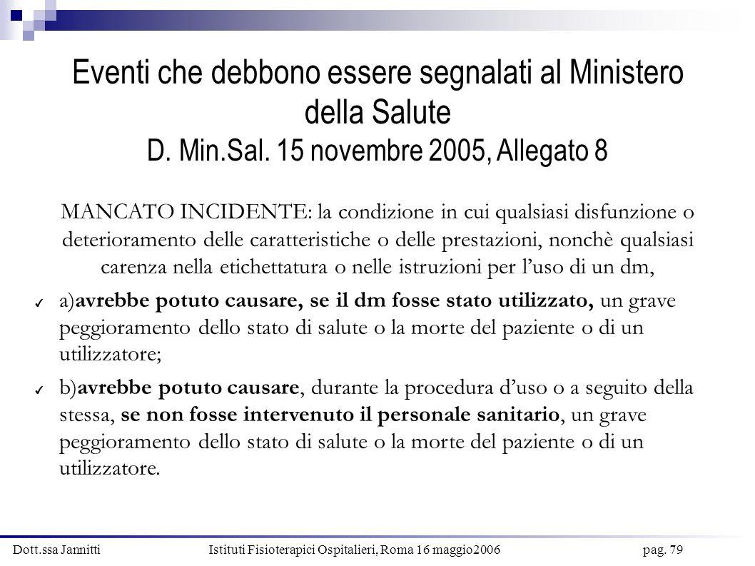 Dott.ssa Jannitti Istituti Fisioterapici Ospitalieri, Roma 16 maggio2006 pag. 79 Eventi che debbono essere segnalati al Ministero della Salute D. Min.