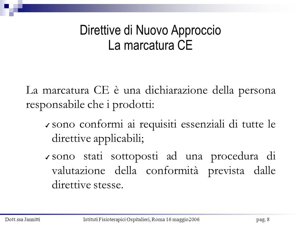 Dott.ssa Jannitti Istituti Fisioterapici Ospitalieri, Roma 16 maggio2006 pag. 8 Direttive di Nuovo Approccio La marcatura CE La marcatura CE è una dic