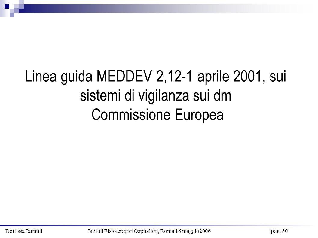 Dott.ssa Jannitti Istituti Fisioterapici Ospitalieri, Roma 16 maggio2006 pag. 80 Linea guida MEDDEV 2,12-1 aprile 2001, sui sistemi di vigilanza sui d