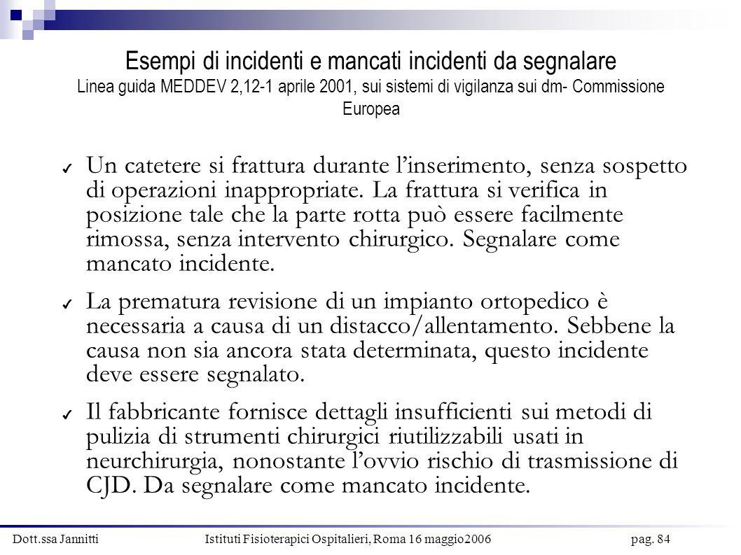 Dott.ssa Jannitti Istituti Fisioterapici Ospitalieri, Roma 16 maggio2006 pag. 84 Esempi di incidenti e mancati incidenti da segnalare Linea guida MEDD