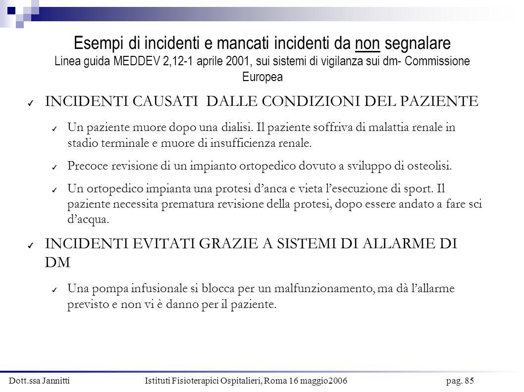 Dott.ssa Jannitti Istituti Fisioterapici Ospitalieri, Roma 16 maggio2006 pag. 85 Esempi di incidenti e mancati incidenti da non segnalare Linea guida
