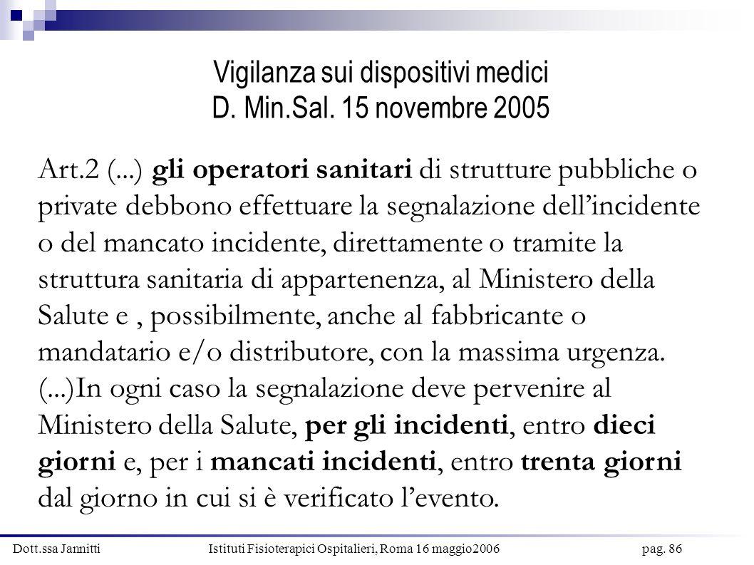 Dott.ssa Jannitti Istituti Fisioterapici Ospitalieri, Roma 16 maggio2006 pag. 86 Vigilanza sui dispositivi medici D. Min.Sal. 15 novembre 2005 Art.2 (