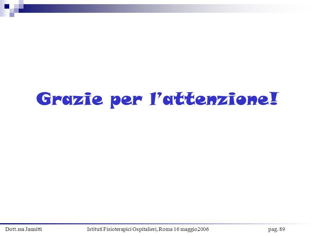 Dott.ssa Jannitti Istituti Fisioterapici Ospitalieri, Roma 16 maggio2006 pag. 89 Grazie per lattenzione!