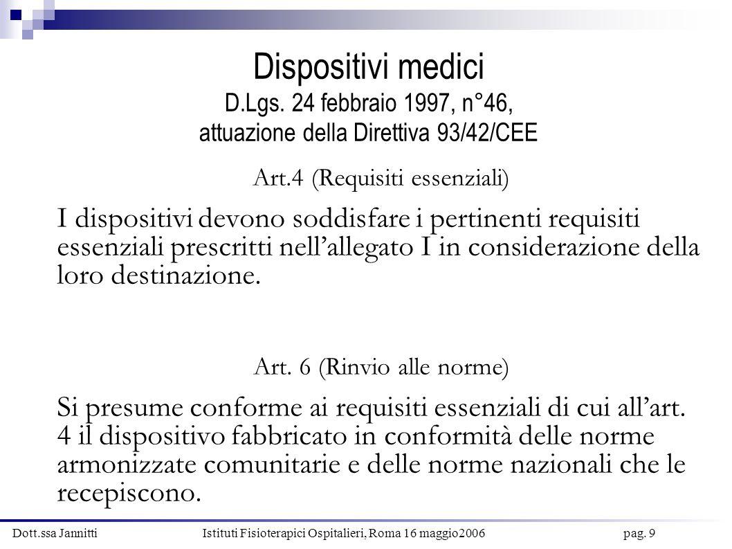 Dott.ssa Jannitti Istituti Fisioterapici Ospitalieri, Roma 16 maggio2006 pag. 20