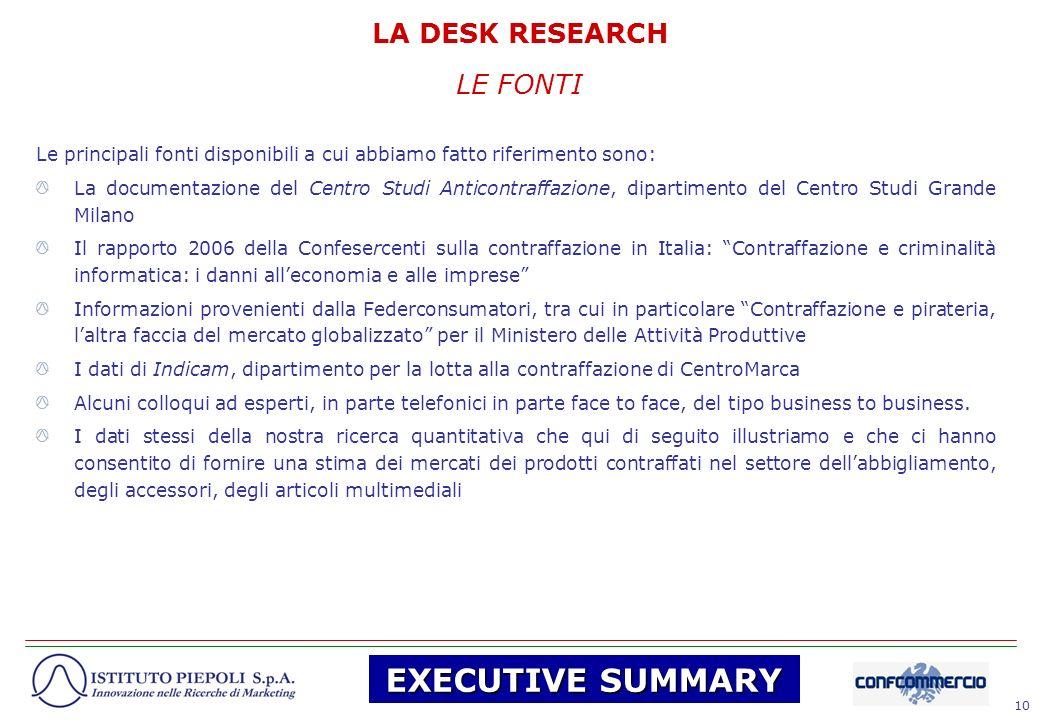 10 LE FONTI Le principali fonti disponibili a cui abbiamo fatto riferimento sono: La documentazione del Centro Studi Anticontraffazione, dipartimento
