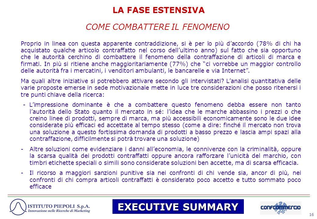 16 COME COMBATTERE IL FENOMENO LA FASE ESTENSIVA Proprio in linea con questa apparente contraddizione, si è per lo più daccordo (78% di chi ha acquist
