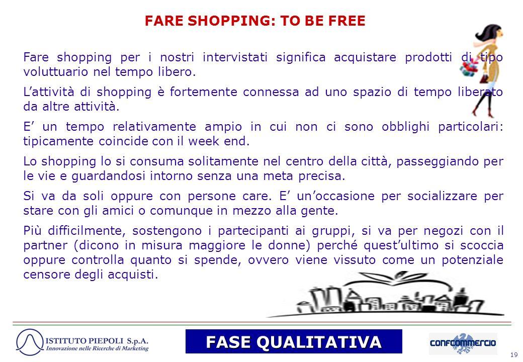 19 FARE SHOPPING: TO BE FREE Fare shopping per i nostri intervistati significa acquistare prodotti di tipo voluttuario nel tempo libero. Lattività di