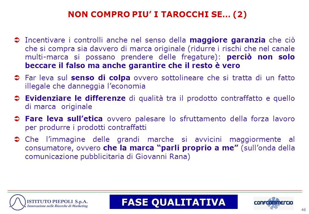 46 NON COMPRO PIU I TAROCCHI SE… (2) Incentivare i controlli anche nel senso della maggiore garanzia che ciò che si compra sia davvero di marca origin