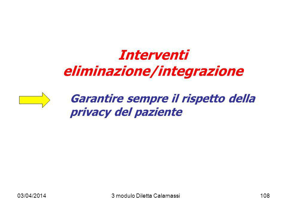 03/04/20143 modulo Diletta Calamassi108 Interventi eliminazione/integrazione Garantire sempre il rispetto della privacy del paziente