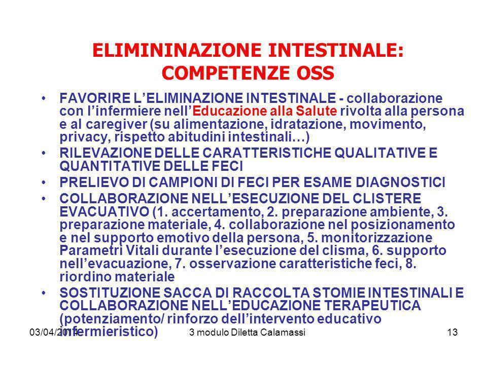 03/04/20143 modulo Diletta Calamassi13 ELIMININAZIONE INTESTINALE: COMPETENZE OSS FAVORIRE LELIMINAZIONE INTESTINALE - collaborazione con linfermiere