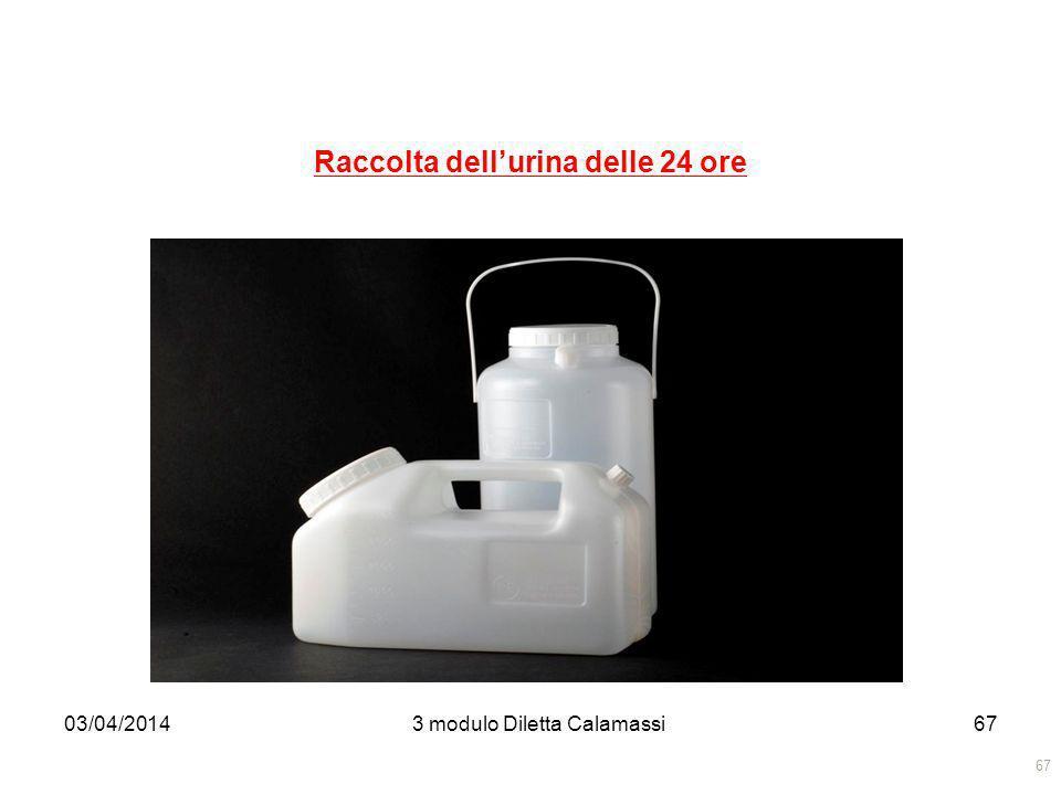 03/04/20143 modulo Diletta Calamassi68 Raccolta dellurina delle 24 ore Per la raccolta di un campione temporizzato di urina, si intende il monitoraggio della quantità di urina emessa nelle 24 ore per determinare il dosaggio di eventuali sostanze presenti in rapporto alla diuresi.