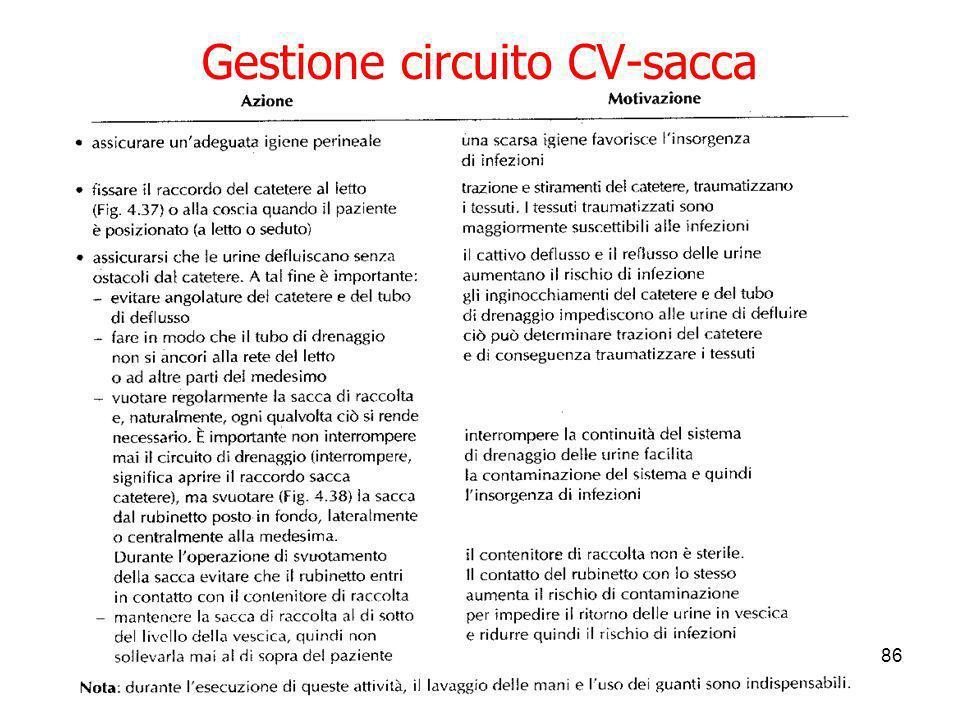 03/04/20143 modulo Diletta Calamassi86 Gestione circuito CV-sacca