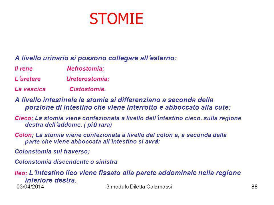 03/04/20143 modulo Diletta Calamassi88 STOMIE A livello urinario si possono collegare all esterno: Il rene Nefrostomia; L uretere Ureterostomia; La ve