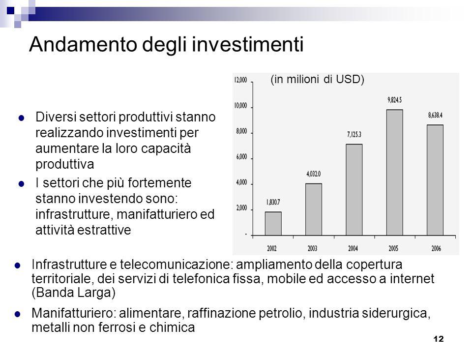 12 Andamento degli investimenti Diversi settori produttivi stanno realizzando investimenti per aumentare la loro capacità produttiva I settori che più