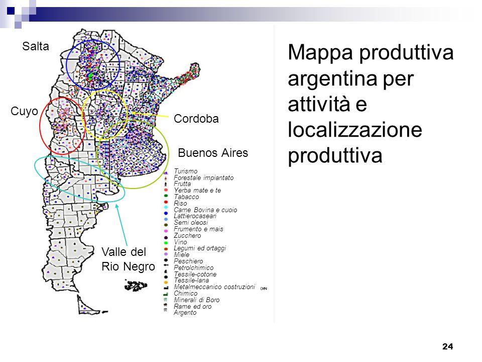 24 Mappa produttiva argentina per attività e localizzazione produttiva Buenos Aires Cuyo Cordoba Salta Valle del Rio Negro Turismo Forestale impiantat