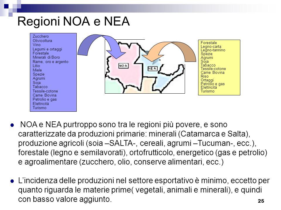 25 Regioni NOA e NEA NOA e NEA purtroppo sono tra le regioni più povere, e sono caratterizzate da produzioni primarie: minerali (Catamarca e Salta), p