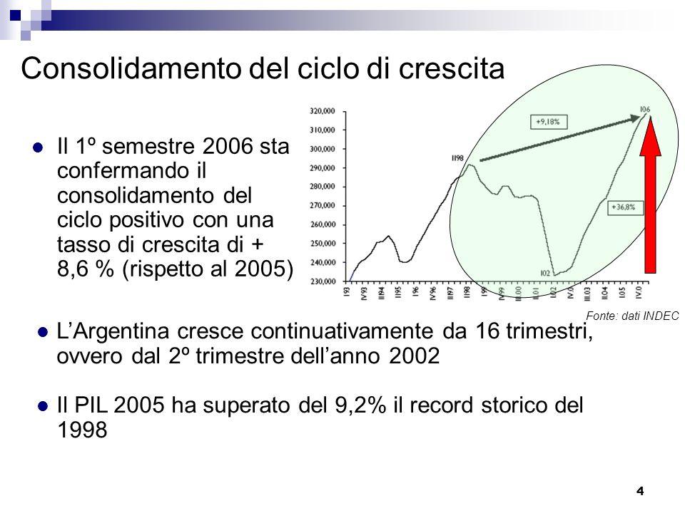 5 Nella decade del 90 si è assistito ad un andamento delleconomia argentina altalenante, con lalternanza di cicli estremamente positivi e negativi Dal 2002 il processo di crescita sta mostrando una consolidata continuità e sostenibilità 2002 II sem 2006 Andamento trimestrale PIL argentino 1993 – 2006 (II semestre) Fonte: dati INDEC
