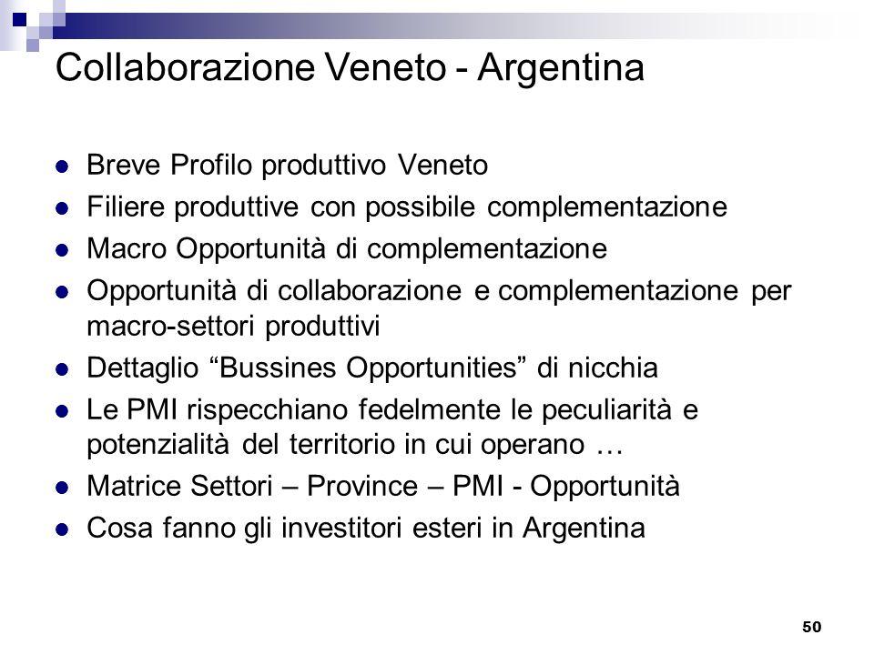 50 Breve Profilo produttivo Veneto Filiere produttive con possibile complementazione Macro Opportunità di complementazione Opportunità di collaborazio