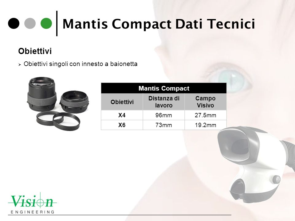 Mantis Compact Dati Tecnici Obiettivi Obiettivi singoli con innesto a baionetta Mantis Compact Obiettivi Distanza di lavoro Campo Visivo X496mm27.5mm