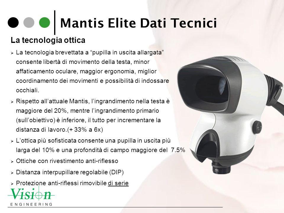 Mantis Elite Dati Tecnici La tecnologia ottica La tecnologia brevettata a pupilla in uscita allargata consente libertà di movimento della testa, minor