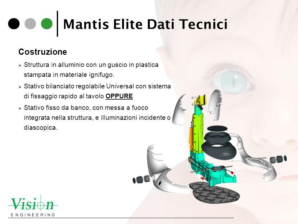 Mantis Elite Dati Tecnici Costruzione Struttura in alluminio con un guscio in plastica stampata in materiale ignifugo. Stativo bilanciato regolabile U