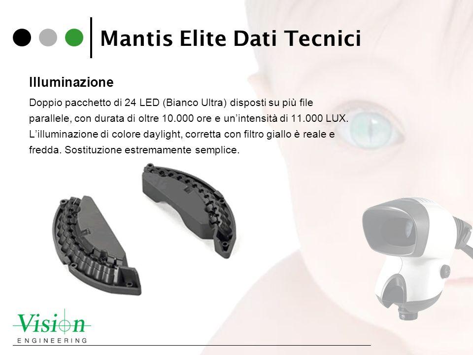 Mantis Elite Dati Tecnici Illuminazione Doppio pacchetto di 24 LED (Bianco Ultra) disposti su più file parallele, con durata di oltre 10.000 ore e uni