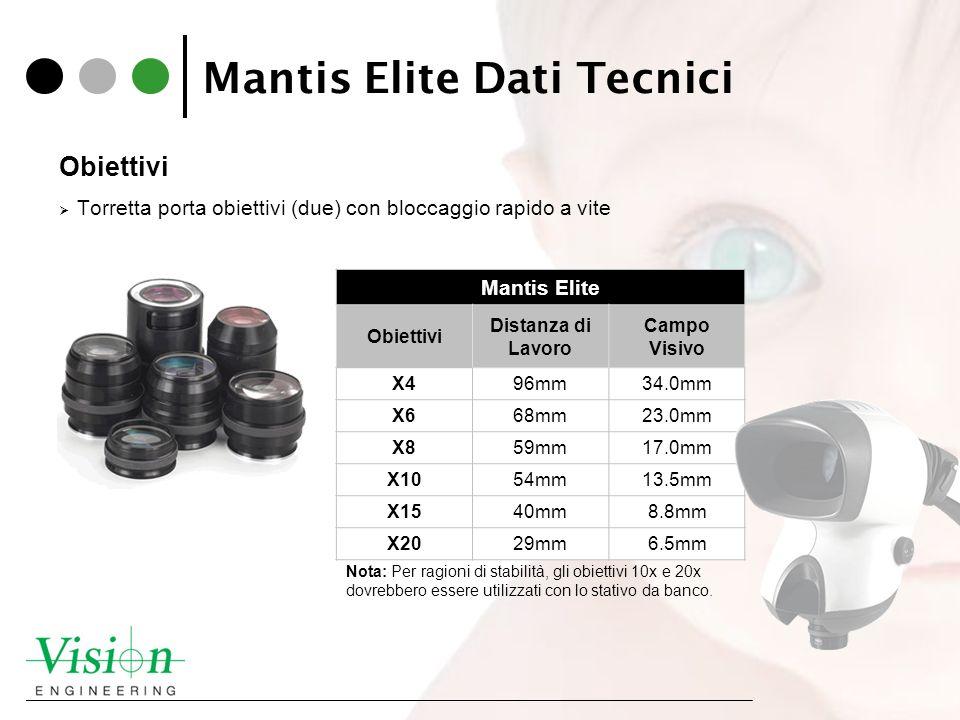 Mantis Elite Dati Tecnici Obiettivi Torretta porta obiettivi (due) con bloccaggio rapido a vite Mantis Elite Obiettivi Distanza di Lavoro Campo Visivo