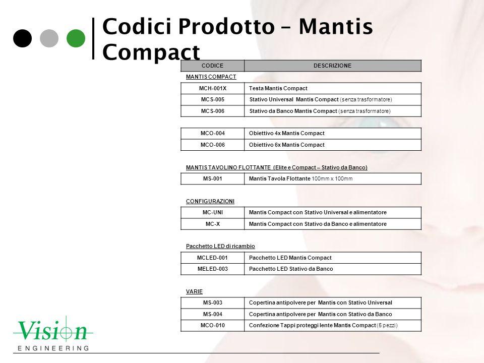 Codici Prodotto – Mantis Compact CODICEDESCRIZIONE MANTIS COMPACT MCH-001XTesta Mantis Compact MCS-005Stativo Universal Mantis Compact (senza trasform