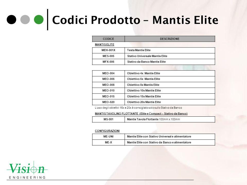 Codici Prodotto – Mantis Elite CODICEDESCRIZIONE MANTIS ELITE MEH-001XTesta Mantis Elite MES-005Stativo Universale Mantis Elite MFX-006Stativo da Banc