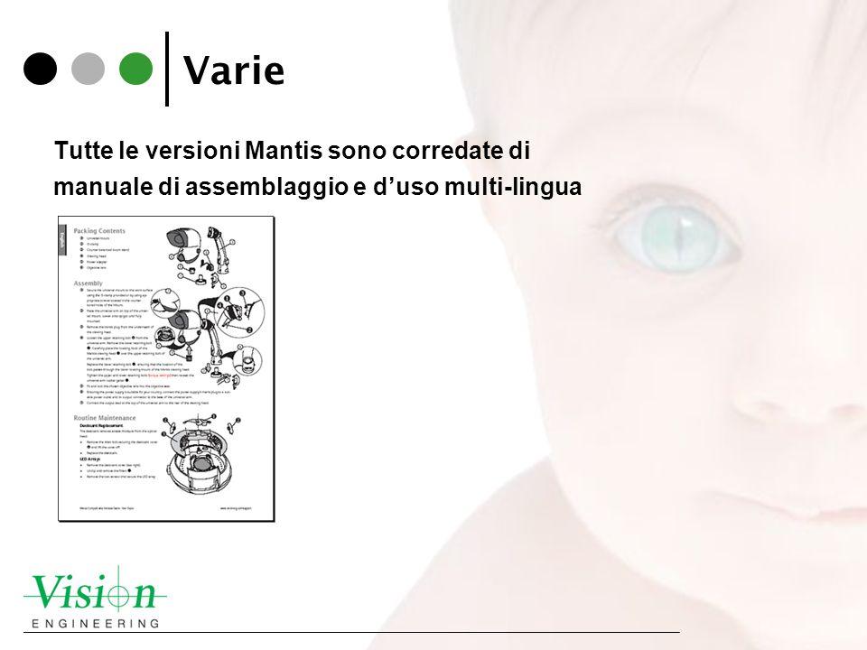 Varie Tutte le versioni Mantis sono corredate di manuale di assemblaggio e duso multi-lingua