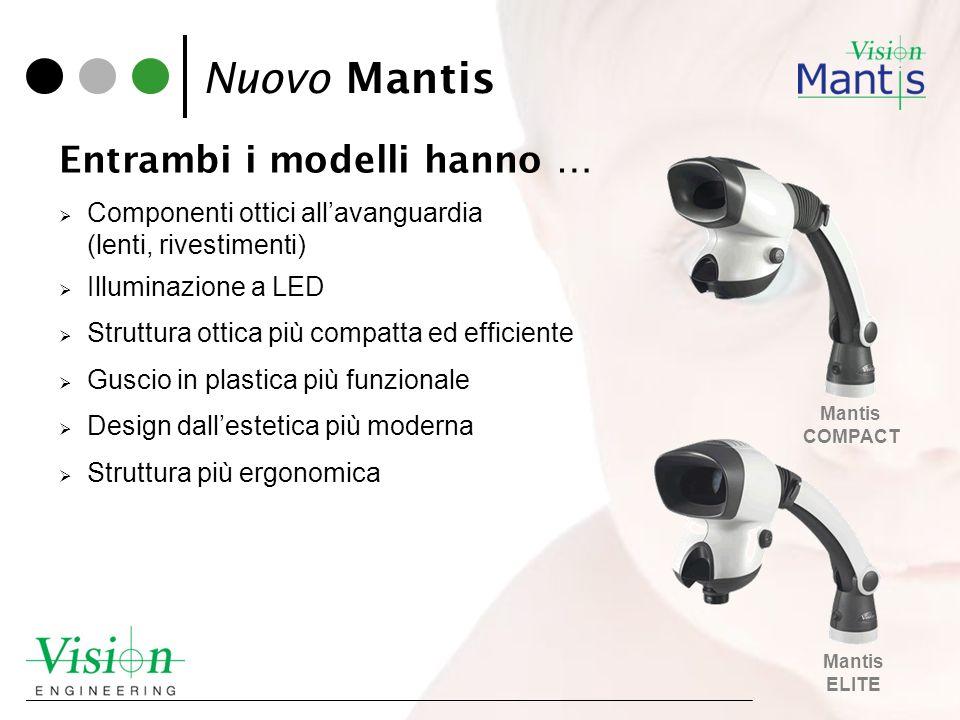 Nuovo Mantis Entrambi i modelli hanno … Componenti ottici allavanguardia (lenti, rivestimenti) Illuminazione a LED Struttura ottica più compatta ed ef