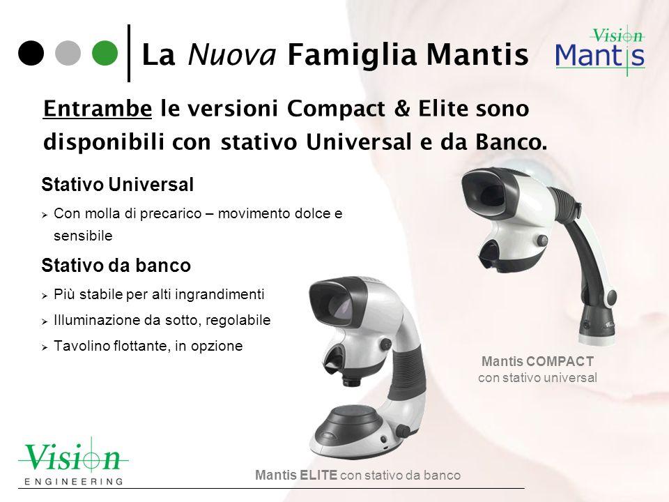 La Nuova Famiglia Mantis Stativo Universal Con molla di precarico – movimento dolce e sensibile Stativo da banco Più stabile per alti ingrandimenti Il