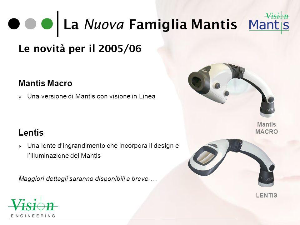 La Nuova Famiglia Mantis Mantis Macro Una versione di Mantis con visione in Linea Lentis Una lente dingrandimento che incorpora il design e lilluminaz