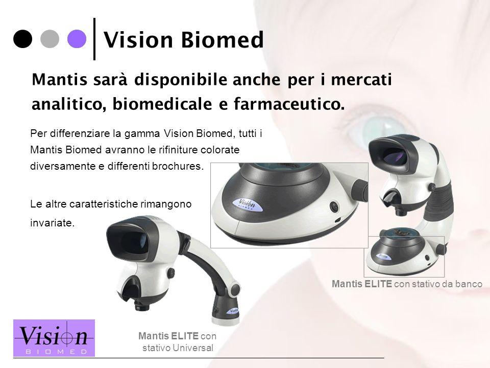 Vision Biomed Per differenziare la gamma Vision Biomed, tutti i Mantis Biomed avranno le rifiniture colorate diversamente e differenti brochures. Le a