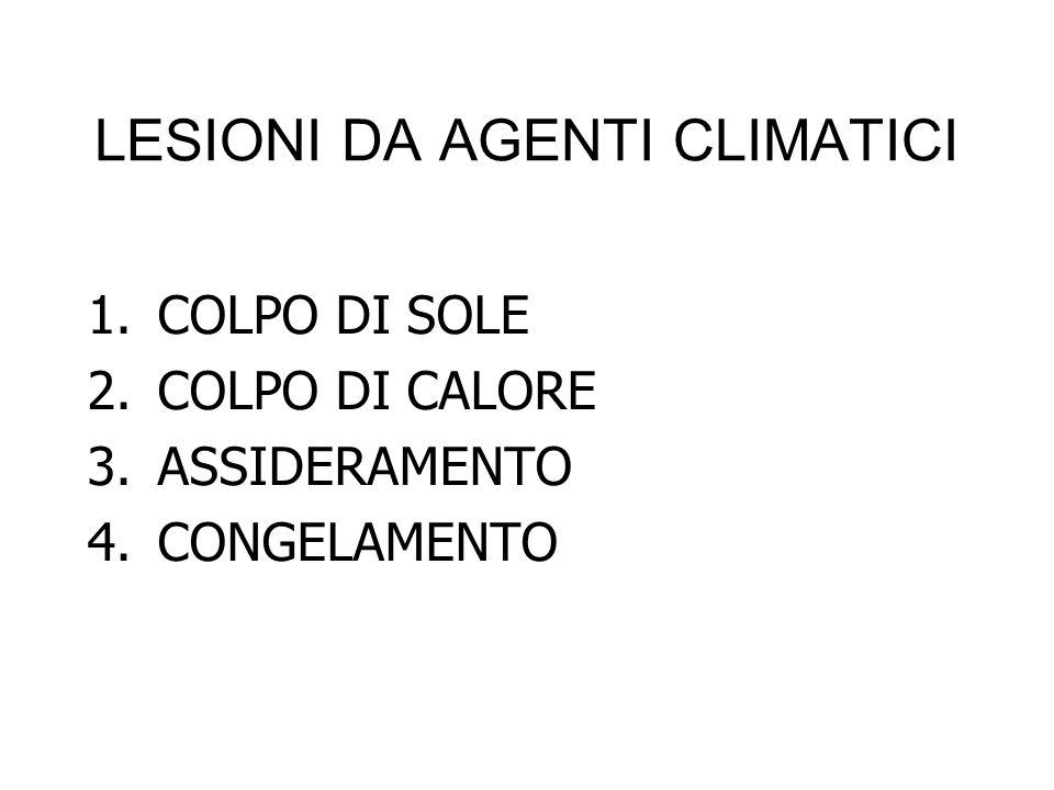 1.COLPO DI SOLE 2.COLPO DI CALORE 3.ASSIDERAMENTO 4.CONGELAMENTO LESIONI DA AGENTI CLIMATICI