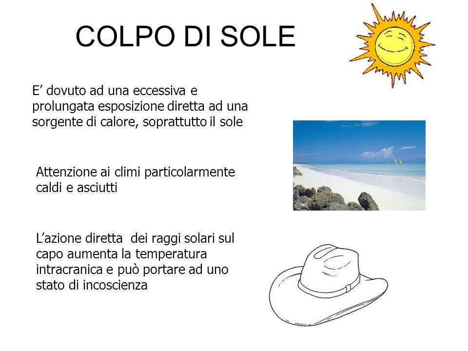 COLPO DI SOLE E dovuto ad una eccessiva e prolungata esposizione diretta ad una sorgente di calore, soprattutto il sole Attenzione ai climi particolar