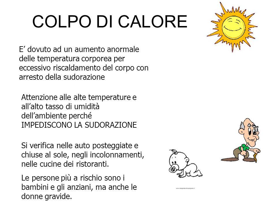 COLPO DI CALORE E dovuto ad un aumento anormale delle temperatura corporea per eccessivo riscaldamento del corpo con arresto della sudorazione Attenzi